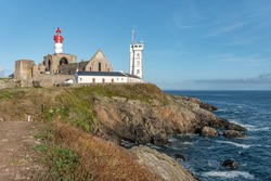 On the grounds of Saint Mathieu lighthouse Brittany in North West France ( Bretagne ) océan finistère