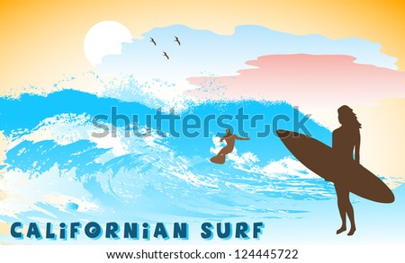 on the image the ocean coast with the surfer is presented