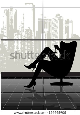 on the image the silhouette of the woman in a chair with a glass against the city is presented