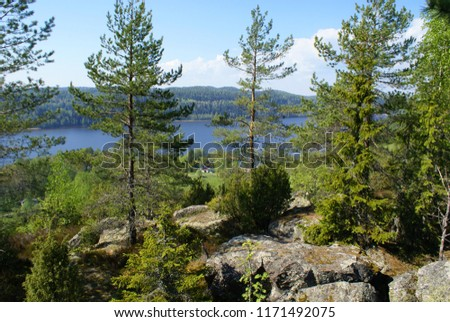 On the mountain there are pines and firs, large stones, a lake under the mountain, a small house on the shore of the Bay. The Bay on the horizon a dense forest. The lake is blue, the sky is blue. #1171492075