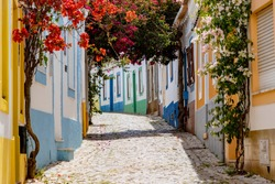 On the narrow Alleys of Ferragudo, Algarve, Portugal, Europe