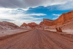 On the road in the Moon Valley (Valle de la Luna), Atacama Desert, Chile.