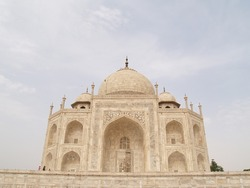 On the side of the Taj Mahal, looking from the other side.