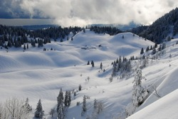On the slopes of the Dôle on snowshoes