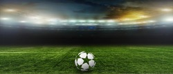 On the stadium. abstract football or soccer backgrounds 3D ball