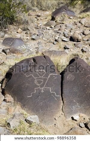 On the stone an ancient drawing men (Three Rivers Petroglyph Site, NM)