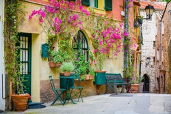On the streets of a medieval village Roquebrune-Cap-Martin. French Riviera. Cote d'Azur