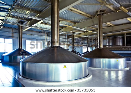 On the territory of brewer's plant with steel fermentation vats