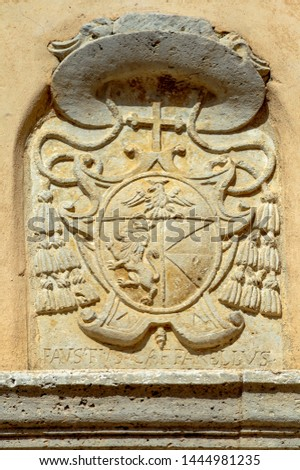 On the walls of the old episcopal palace, stone bas-reliefs of the patrimonial emblems of the ruling bishops preserved here are preserved. #1444981235