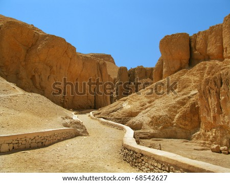 On the way to the upper royal tombs in the Valley of Kings, in Luxor (Ancient Thebes) west bank, Egypt.