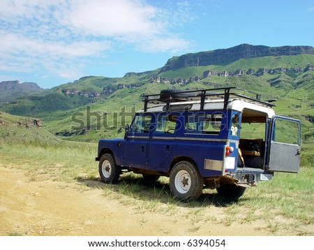 On the way with a jeep trough The Drakenberg mountains in South Africa