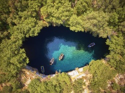 On top of Melissani Cave ( Melissani Lake) near Sami village in Kefalonia island , Greece