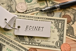 On top of the dollar bills on the table, there is a word book with the financial term EDINET written on it. It is an abbreviation for Electronic Disclosure for Investors' NETwork.