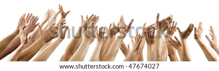 on white background lot of men's and women's hands raised up