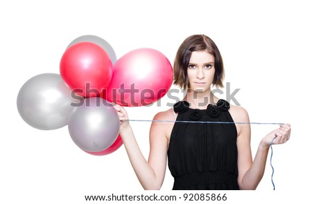 On White Image Of A Beautiful Young Lady Wearing Elegant Evening Dress While Holding A Bunch Of Red And Silver Balloons During A Formal Event