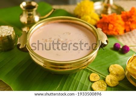 Onam sadhya sweet palada payasam or semiya dal kheer dessert Kerala, South India. Indian mithai Delicious festival sweet dish for Onam, Vishu, Deepawali, sweet food made of condensed milk