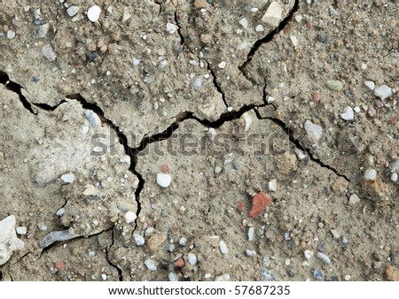 Once dried earth with cracks and water drops after raining, taken in July after a long period of heat