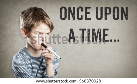 Once Upon a Time, start of a fairy tale, story telling concept, boy on grunge background, writing and thinking, copy space