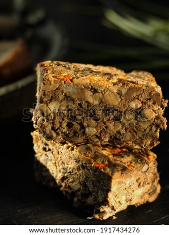 Oncom, Indonesian traditional fermented food made of black soya. Photo stock ©