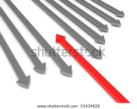 Oncoming traffic. Grey arrows and red arrow isolated on white background. High quality 3d render.