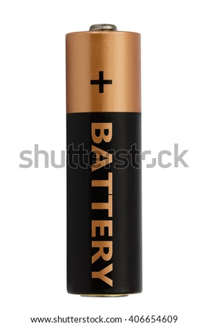 One AA battery isolated on white, with clipping path