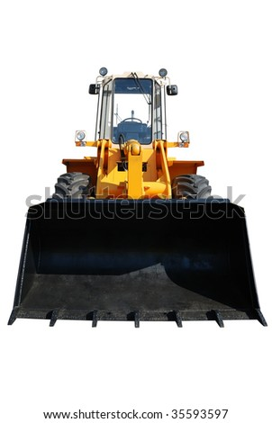 One actual new bulldozer from showcase isolated on white