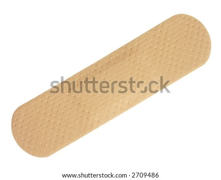 One adhesive bandage isolated on white. - stock photo