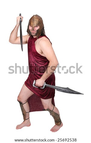 one adult male greek warrior with swords over white