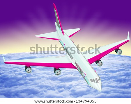 One airplane flying over clouds over the Earth - stock photo