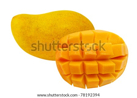 One and a half mangoes isolated on white