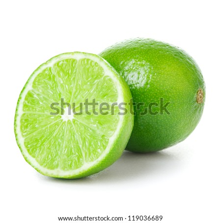 One and half limes on white background
