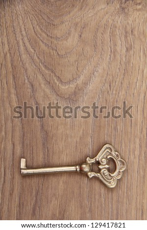 One antique key lies on a light wooden background/Old key on wooden table, close up photo