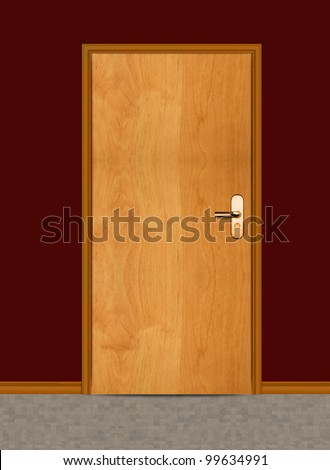 One apartment wooden door.