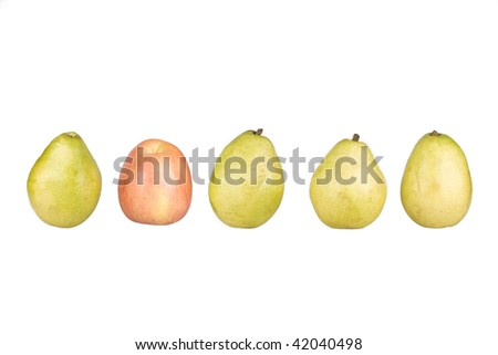 One apple is among of a row of pears -  concept of leadership, mixed, a bad apple, etc.