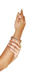 One arm lifted up and the finger pointing up and the other hand holds the arm with bracelets on the arm, for white background.