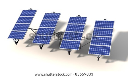 One articulated solar panel module with morning light on a white background