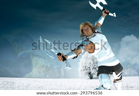 One attacking warrior with two axes. One man warrior in armor with two hand axes and outstretched hands in different directions.