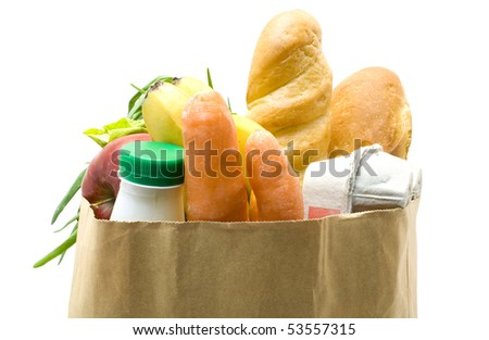 One bag with food isolated  on white background