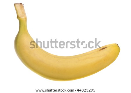 one banana on a white background