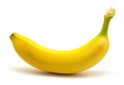 One banana on white background