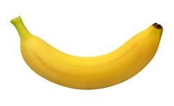 one bananas isolated on white background. whole yellow fruits.