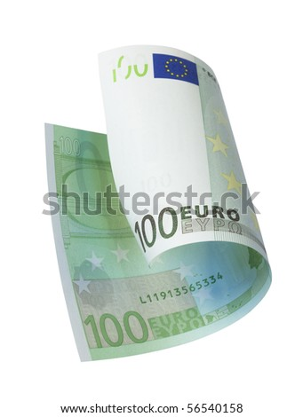 one banknote 100 euro, isolated on white with clipping path. - stock photo