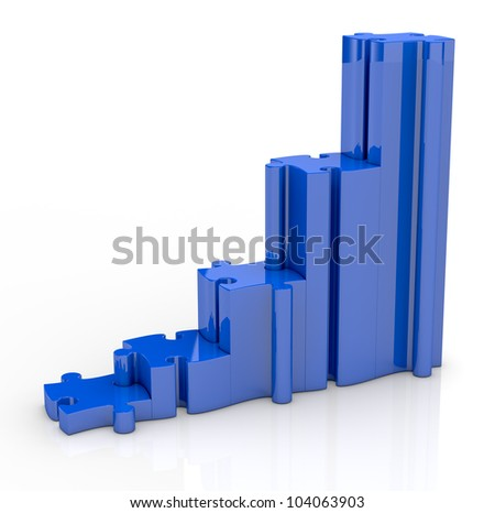 one bar chart made with puzzle pieces (3d render)