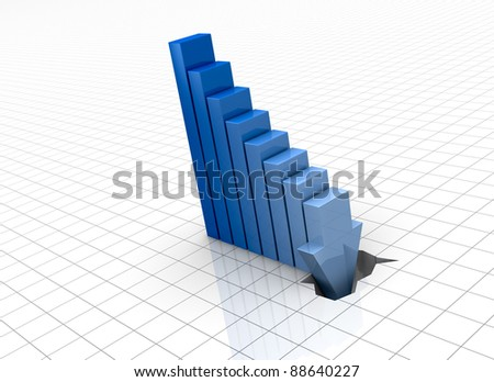one bar chart with the last bar that breaks the floor, concept of crisis or bankrupt (3d render)
