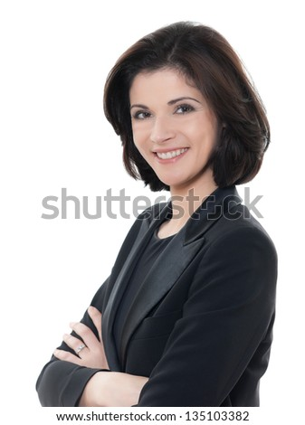 one beautiful smiling caucasian business woman portrait arms crossed in studio isolated on white background