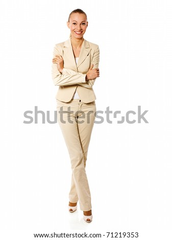 One beautiful Standing businesswoman isolated on white