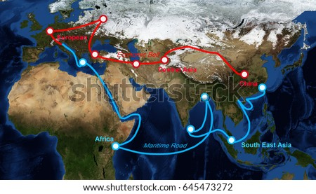 One belt one road route map with label, The map image furnished by NASA #645473272