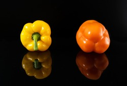 One big bulgarian yellow pepper with green stems and one orange pepper with amazing reflection on gloss dark surface