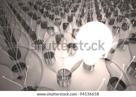 one big idea among other idea light bulb