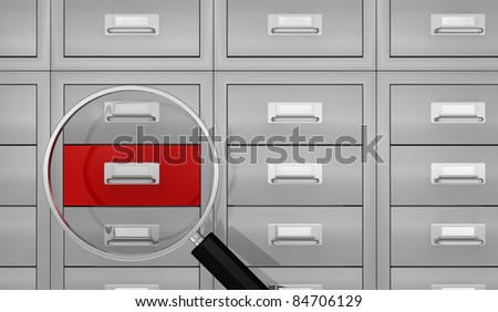 one big office file drawer with a magnifying glass that show a red drawer, concept of search data (3d render)